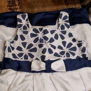 Beautiful girls navy white dress lace top